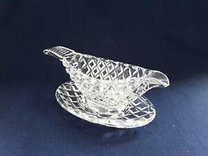 Vintage Cut Glass Cream Jug and Tray Set Miniature Beautiful Gift