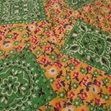 PreQuilted fabric Vtg 70s green yellow hanky calico Hippy Chic BTHY