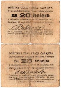 Yugoslavia 20 Helera P#UNL (1919) *Sarajevo* Fine