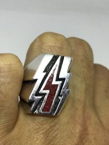 Vintage Silver Bronze Southwestern Red Coral Inlay Lightning Bolt Ring Size 6.5