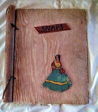 Vtg Mexican Seniorita Wooden Photo Album for Photos or SNAPS Free Ship Signature