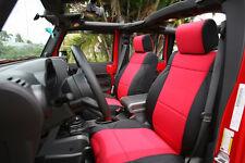 Jeep Wrangler 2007-10 JK custom neoprene FRONT pair set seat cover Red jpnoFR