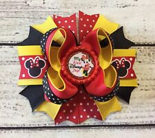 My First Disney Trip Minnie Mouse Boutique Stacked Hair Bow Handmade 5""