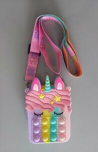 Rainbow Unicorn Poppit Bag. Unicorn Poppit Fidget Toy Bag. Bubble Shoulder Bag