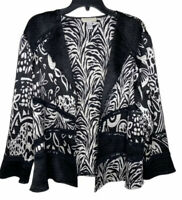 Chico's Black White Stretchy Open Front Jacket 3 Animal Print Long Sleeve