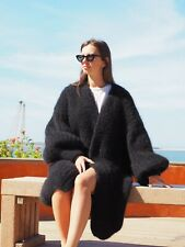 New Black HandKnitted Longhair Mohair Coat Cardigan Bernadette  by LanaKnittings