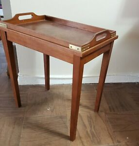 Vintage Cocktail Butlers Table w/ wood under table Faux Sapele Georgian Style