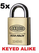 5x Lockwood Padlocks Keyed Alike 5x keys High Security Padlock 334B45/119/5K
