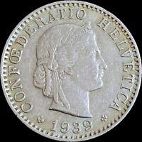 1939 B Switzerland 20 Rappen - Key Date - DDO Variety