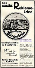 Berliner Bürgerbräu Reklame 1931 Brauerei Bier Werbung