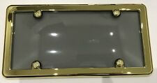 UNBREAKABLE Smoke License Plate Shield Cover + GOLD FRAME + 4 GOLD SCREW CAPS