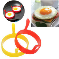 Silicone Round Egg Rings Pancake Mold Ring W Handles Nonstick Fried Frying 1PC J