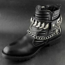 Cool Leather Boot Chain Gun Strap Western Biker Rock Shoes Chain Black L43
