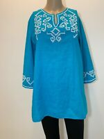 Chico's Shirt Top Tunic 3/4 Sleeves Beaded Medium Top Size 1  Cotton Linen #T170