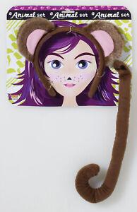 Brown Monkey Ears Headband Tail Costume Accessory Set NEW