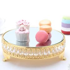 Modern Cake Dessert Stand Round Display Glass Mirror Gold Crystal Wedding Party