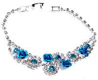Aqua Rose Floral Rhinestone Bracelet Austrian Crystal Bridal Prom Pageant
