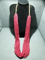 LOVISA CHUNKY LONG  MULTI STRAND RED/PINK SEED BEAD NECKLACE,STATEMENT,