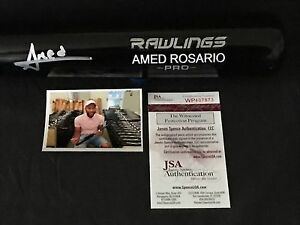 Amed Rosario New York Mets Signed Engraved Bat JSA WITNESS COA Black