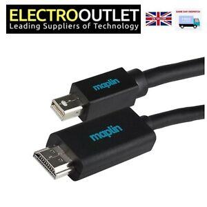Maplin Premium Black Mini DisplayPort to HDMI Cable 3m Lead RRP £13.99
