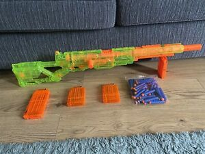 Nerf N-Strike Longstrike CS-6 Rare Sonic Green Sniper 4x Mags & 50 Blue Ammo