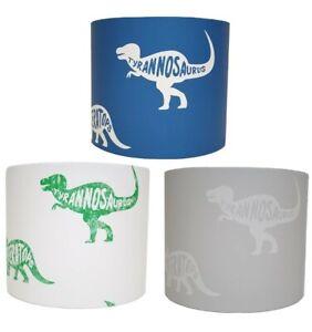 Dinosaur Lampshade Ceiling Light Shade Bedroom Nursery Blue Grey White T Rex