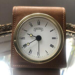 Ghurka Classic Leather Travel Clock