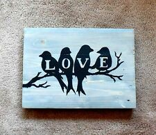 Handmade Reclaimed Pallet Sign Love Birds Theme Driftwood Stain Wall Plaque