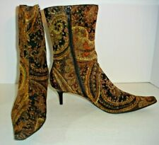 MULTI- PAISLEY ANKLE BOOT HEELS Women 8. PREDICTIONS