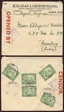 ADEN to INDIA WW2 CENSOR No.1 PRINTED ENVELOPE LAKHMICHAND 1/2A x 5 FRANKING