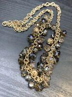 Vintage  Ladies Gold Silver Smoky Topaz Glass Dangle Charm Statement Necklace