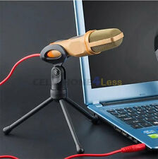 Condenser Microphone With Stand For PC Laptop Skype Sound Recording - Gold