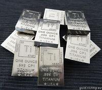 """10x 1 OZ TITANBARREN """"ELEMENT"""" 1 Unze avdp Titan Barren 10 Unzen Neu .996 CP1"""