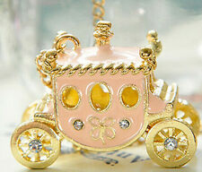 NEW Crystal Pink Pumpkin Carriage Pendant Necklace