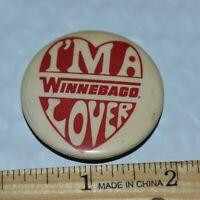 Vintage I'm A Winnebago Lover Button Pin Pinback Motorhome RV Camper Collectible