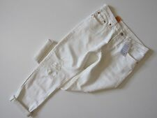 NWT Levi's 501CT for Women in White Tumble Destroyed Buttonfly Boyfriend Jean 31