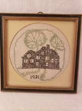 "Vintage Framed Cross Stich Sampler - 1931 - House with Trees - 7 1/4"" Square"