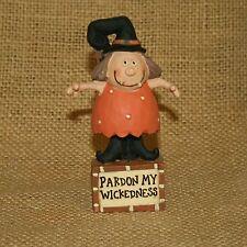 Pardon My Wickedness Witch Blossom Bucket Fall Figurine Barbara Lloyd