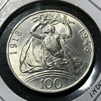 1948 CZECHOSLOVAKIA 100 KORUN BRILLIANT UNCIRCULATED INDEPENDENCE COIN