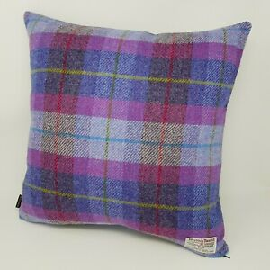 PURPLE Wool Check Tweed Cushion Cover handmade genuine HARRIS TWEED