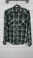 Salt Valley Wester Pearl Snap Button Shirt Green Plaid Men's Size S