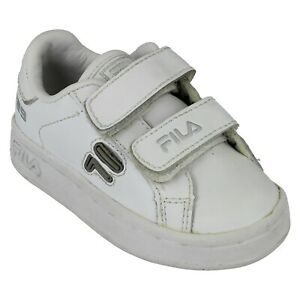 Childrens Fila Casual Hook and Loop Shoes - 729 White - UK 4 Infant - ExDisplay