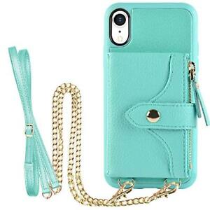iPhone XR Wallet Case Women PU Leather Crossbody Card Slots Zipper Pocket Green