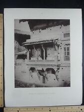 Rare Antique Orig VTG House Side At Ahmedabad 17th Century Engraving Art Print