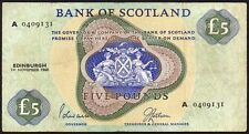 1968 BANK OF SCOTLAND £5 BANKNOTE * A 0409131 * FIRST * gF *