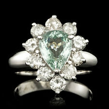 Certified 1.85cttw Paraiba Tourmaline 1.45cts Diamond 14KT White Gold Ring