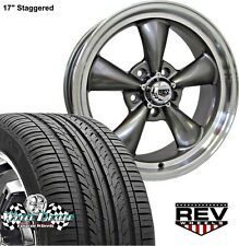 "17x7""-17x8"" GRAY REV CLASSIC 100 WHEELS AND TIRES FOR BUICK SKYLARK 1968 1969"