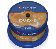 200 DVD VERGINI VERBATIM 100% AZO MATT SILVER PROTECTION IN CAKE BOX DVD-R 43548