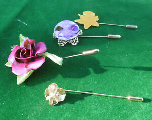 4 Stick Pins: Flowers