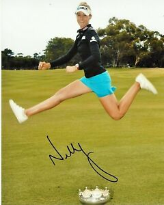 LPGA GOLFER NELLY KORDA HAND SIGNED 8x10 PHOTO E w/COA WOMEN'S GOLF PROOF
